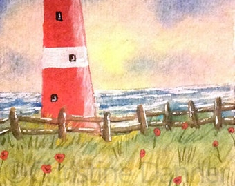 Original Art Red Lighthouse, Seagull & Poppies ACEO Painting