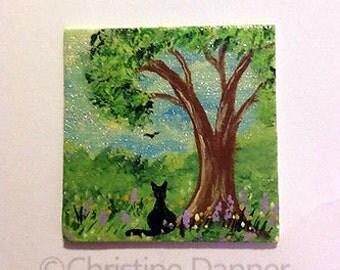 Tiny Miniature Dollhouse Art 1.5x1.5 inch Painting Black Cat & Tree