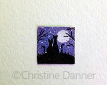 Tiny Miniature Dollhouse Art 3/4 x 3/4 inch Painting Black Cats & Full Moon