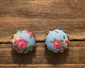 Fabric button earrings- Floral-