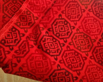 Vintage Fabric / Retro Material / Retro Fabric  /  Red  Cotton Fabric / Corduroy Material / Sewing Supplies / Craft Supplies
