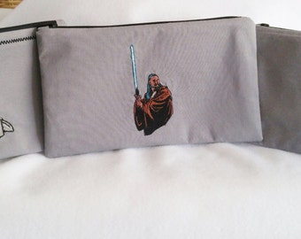 STAR WARS Pencil Case/Gadget Case/Zipper Pouch/ School Supplies/Darth Vader/ Obi-Wan Kanobi/ R2-D-2/Star Wars Fan/Machine Embroidery
