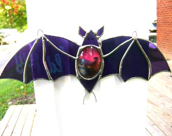 Bat Addams Family Stained Glass Halloween Gothic Vampire Count Dracula Pagan Yule Morticia Christmas Birthday OOAK Original Design©