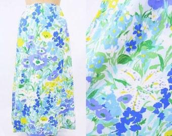 "SUMMERS END SALE // 1970s skirt vintage 70s bright blue floral print high waist maxi skirt M W 27"""