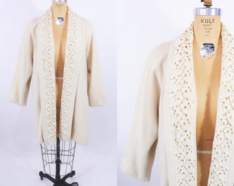 1980s coat vintage 80s cream open lace detail swing coat M/L