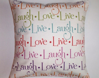 Throw Pillow Cover, Live - Laugh - Love in Multicolor Pillow Cover, Accent Pillow, Decorative Cushion Cover, Richloom Fabric, Assorted Sizes