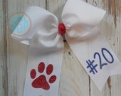 Two Loop Tails Down Monogrammed Paw Print Hair Bow---Personalized