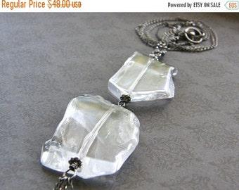 Summer Sale Extra Long Crystal Quartz Pendant Necklace, Rock Crystal Specimen Sterling Silver Necklace