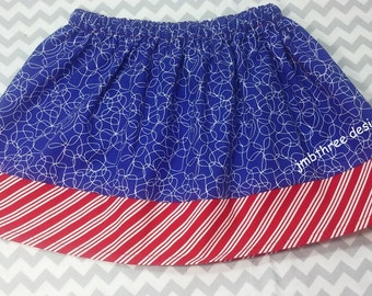 SUMMER SALE Blue and Red skirt size 4T.  Ready to Ship