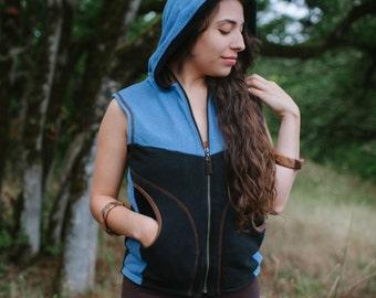 Unisex Lined Fir Vest Hoodie/ Hemp Tencel Organic Cotton Recycled Poly