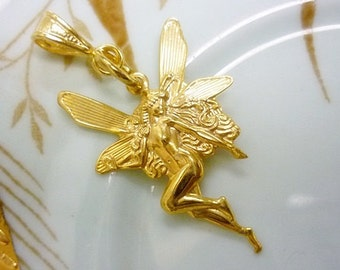 Golden Nude Fairy with Wings Pendant,Gold Fairy Stamped Pendant