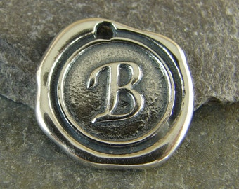 Sterling Silver Round Wax Seal Pendant - Letter B - Artisan Sterling Silver Monogram - Initial Pendant - Letter Charm - rws
