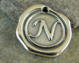 Sterling Silver Round Wax Seal Pendant - Letter N - Artisan Sterling Silver Monogram - Initial Pendant - Letter Charm - rws
