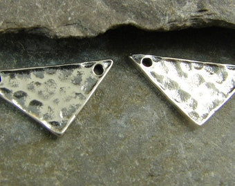 Minimalist Hammered Sterling Silver Triangle Link