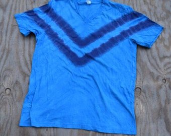 Kon Tiki - V-Stripe Tie Dye T-Shirt (Bella Canvas V-neck Size XL) (One of a Kind)