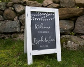 Shabby Chic White Distressed Chalkboard Sandwich Board Double Sided Welcome Wedding Sign Bride and Groom Name and Date