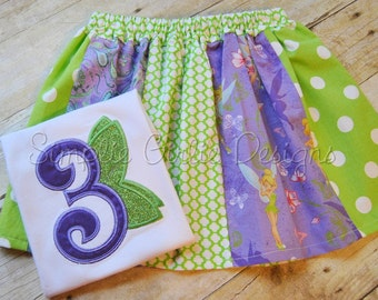 Custom fairy birthday shirt or bodysuit with optional stripwork skirt.  Personalized. Can customize.