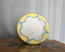 Yellow Plate Vintage Blue Star White Painted L. Smith Signed Gold Rim Edge Vintage Ceramic marked M Z Austria - 7.75in