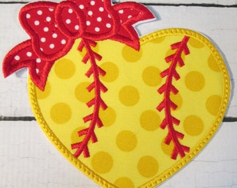 Baseball or Softball  Heart - Iron On or Sew On Embroidered Custom Made Applique  READY TO SHIP in 3-7 Business Days