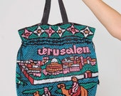 SALE Vintage 80s Beaded JERUSALEM Bag SOUVENIR Bag Holy Land Slouch Bag Camel & City Scene Drawstring Handbag Israel Tote Bag