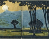 Arts & Crafts style Landscape Tiles with Moon, Trees, Stream and Mountains - 2 Tile Set