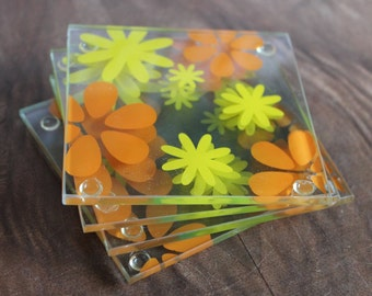 4 Vintage clear glass 70's floral drink coasters,coasters,glass coasters,floral coasters,glass coaters,clear coasters,clear floral coasters