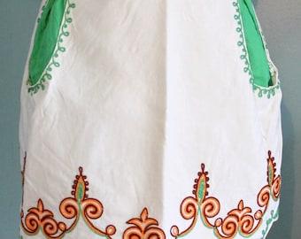 vintage cream/green apron,floral cream/green apron,floral apron,cream floral apron,green floral apron,apron,green,cream apron,vintage apron