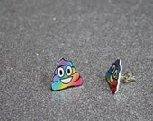 rainbow poop emoji earrings