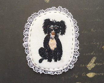 Embroidery Dog Brooch with  Funny Dog. Hand embroidered textile dog jewelry. Terriermix brooch.