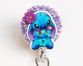 Disney's Stitch and Scrump ID Badge Reel - Retractable ID Badge Holder - Zipperedheart