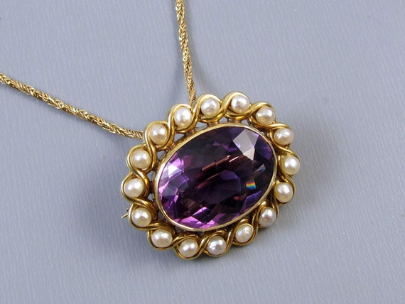 Antique Edwardian 14k gold 7.87 carat amethyst pearl pendant brooch pin signed Henry Blank and Co.