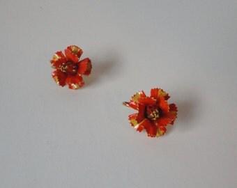 Orange and Yellow Enameled Flower Earrings
