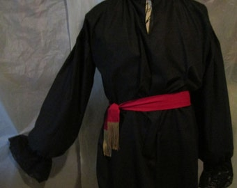 Mens Black Cotton Pirate Shirt - Lace Cuffs & Red Tie Belt.  Pirate/Poet/Regency. FREE SHIPPING!!