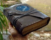 RESERVED for Ramita - Dark Brown Leather Journal, Shibori Fabric, Aged Paper - OOAK