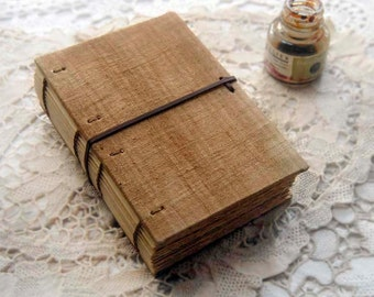 Daydreams - Antique French Linen Journal, Tea Stained Pages, OOAK