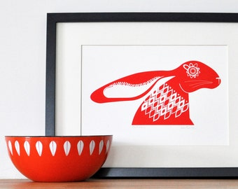 Scandinavian Red Hare - Open Edition Giclee Print