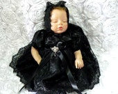 GOTHIC DRESS BLACK Lace for reborn doll or baby size 0-3 months