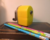 Apsco Midget Pencil Sharpener - Desk Mount - Hand Crank - Vintage 1960's Yellow Apsco Midget