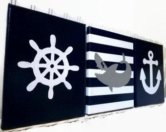 Shark Paintings - Nursery Wall Decor - Nautical Acrylic Paintings - Baby Boy Nautical Nursery - Anchor Helm Wall Hanging - Hand Painted