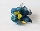 Vintage Feather Rose Flower Corsage Brooch Rose Feather Hat Millinery Blue