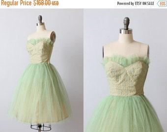 SALE Vintage 1950s Dress / Prom Dress / Party Dress / Formal Dress / Butter Mint