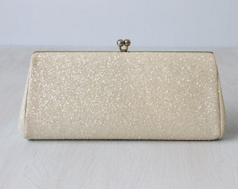 Off White Glitter Evening Formal Handbag /  Clutch / Evening Purse / Sparkle