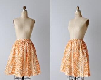 Vintage 1960s Skirt / 60s Skirt / Orange Skirt / Novelty Print Skirt / Midi Skirt