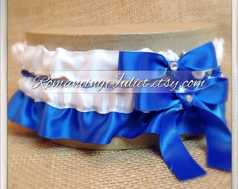Satin Bridal Garter Set with Rhinestone Accents.. 1 to Keep 1 to Toss...MANY COLORS AVAILABLE.., shown and royal blue/white