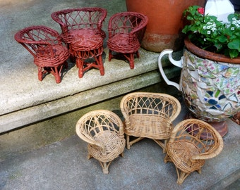 2 Miniature Wicker Furniture Sets, Settees, Chairs, Table, Doll House Patio Furniture, Fairy Gardens