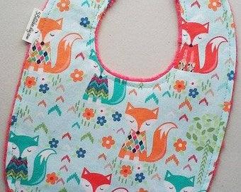 Foxes Baby Girl Bib - Fancy Foxes on Watermelon Minky