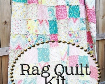 Rag Quilt Kit, multiple sizes available, Rapture fabrics