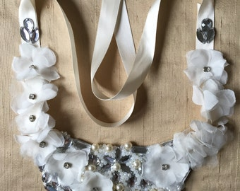 Hand sewn/beaded-one of a kind bib necklace NORMALLY over 200.00