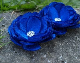 Royal Blue Colored Flower Hair Pins - Brooches - Shoe Clips Set of 2