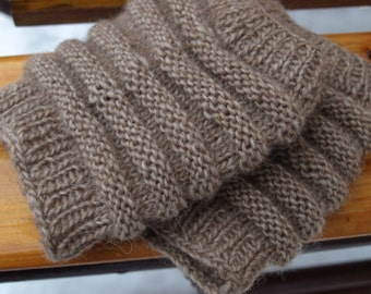 Kintted Brown Colored Leg Warmers Boot Cuffs  Boot Toppers Boot Socks Womens Boot Socks Textured and Stretchy Peep Socks